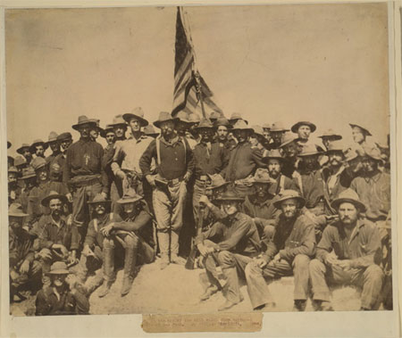 Colonel Roosevelt and his Rough Riders at the top of the hill which they captured, Battle of San Juan