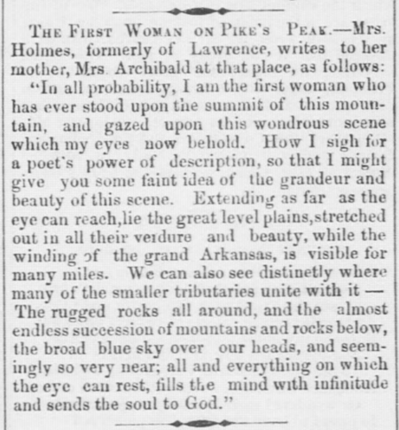 The First Woman on Pike's Peak