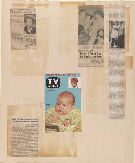 Scrapbook page featuring coverage of the birth of Ball and Arnaz's real-life baby, Desi Arnaz, Jr., 1953