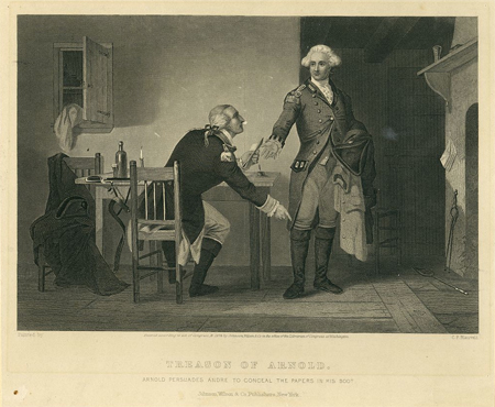 Treason of Arnold Arnold persuades Andre to conceal the papers in his boot