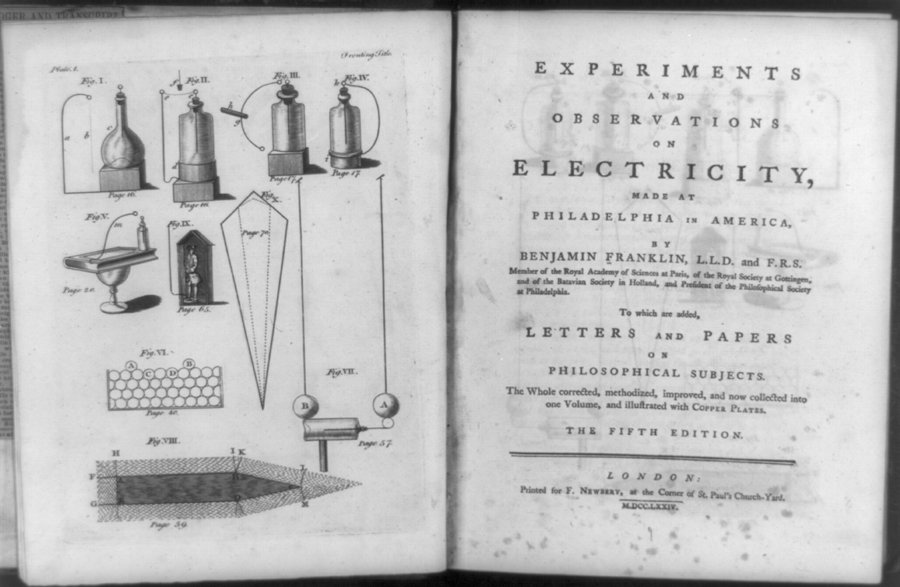Diagrams of various electrical phenomena and title page of Experiments and observations on electricity