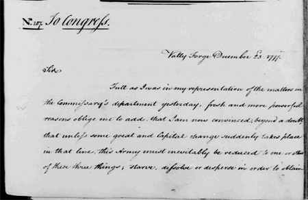 George Washington to Continental Congress, December 23, 1777