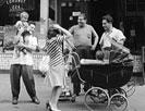 New York, New York. Italian-Americans on MacDougal Street relaxing on Sunday