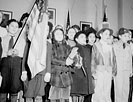 New York, New York students pledging allegiance to the flag in public school eight in an Italian-American section