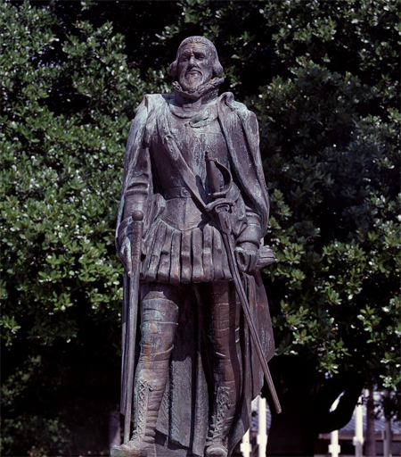 The government of Spain donated this statue of Juan Ponce de Leon in downtown Miami, Florida