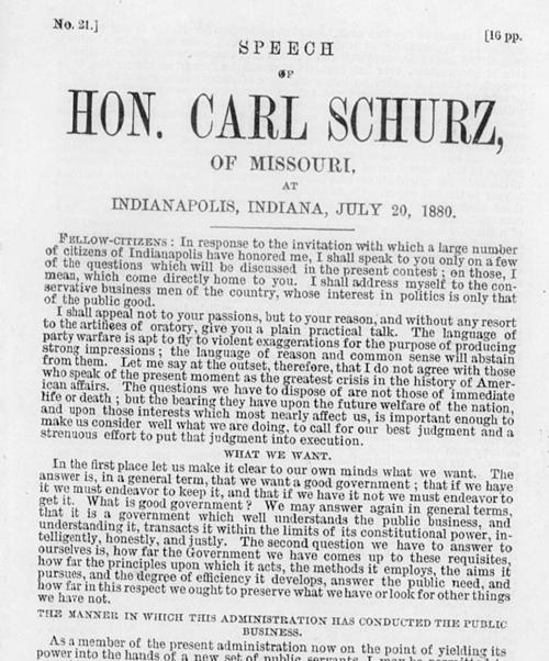 Speech of Hon. Carl Schurz, of Missouri at Indianapolis, Indiana, July 20, 1880