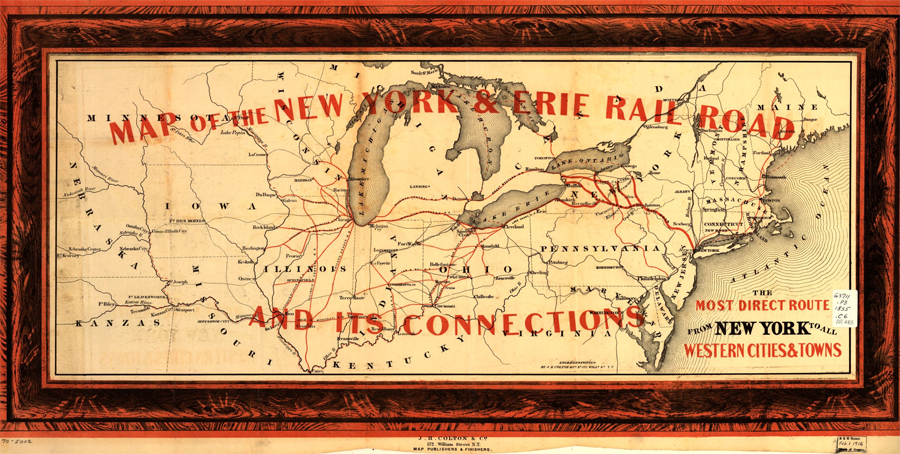 Map of New York & Erie Rail Road and its connections
