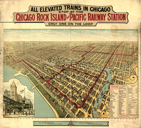 All elevated trains in Chicago stop at the Chicago Rock Island and Pacific Railway Station, only one on the Loop