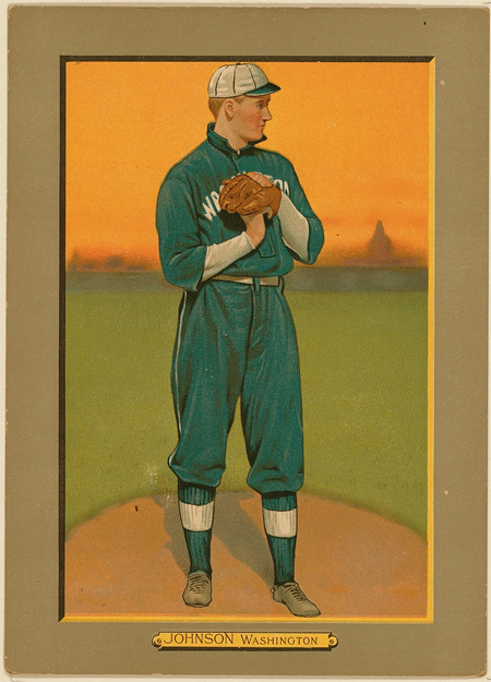Walter Johnson, Washington Nationals, baseball card portrait