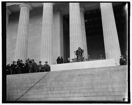 Washington's prominent figures listen to Marian Anderson's singing