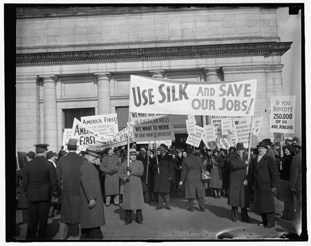 American Federation of Hosiery Workers protest against the boycott of Japanese silk