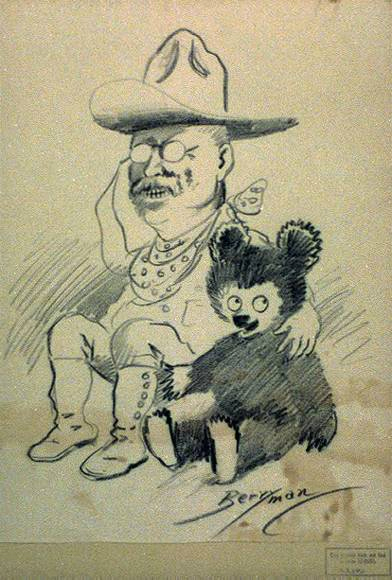 Theodore Roosevelt as Rough Rider with Clifford Berryman's bear