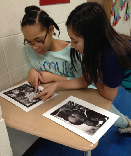 Students at Irving School in Berwyn, IL analyzing primary sources