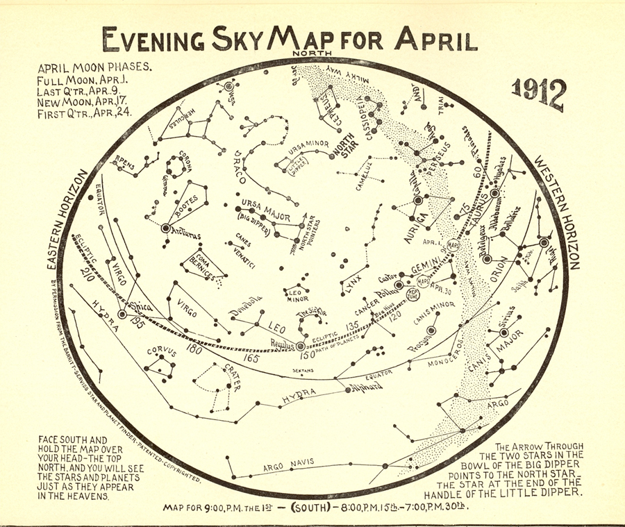 Evening Sky Map for April 1912