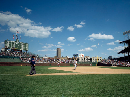 Baseball game at historic Wrigley Field, Chicago, Illinois