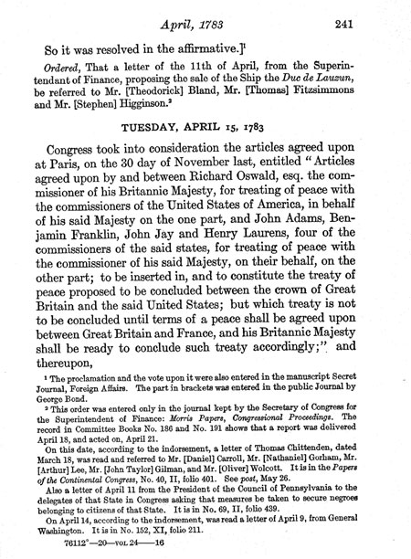 Preliminary articles of peace with Great Britain ending the Revolutionary War