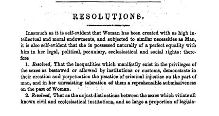 Resolutions from the proceedings of the Woman's Rights Convention