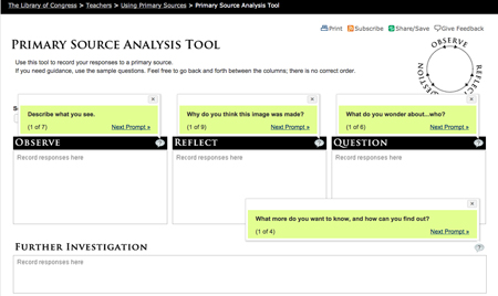 Digital Primary Source Analysis Tool prompts