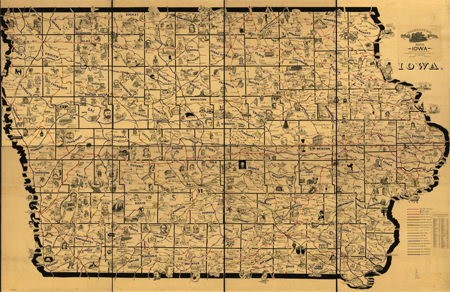 Galbraith's railway mail service maps, Iowa