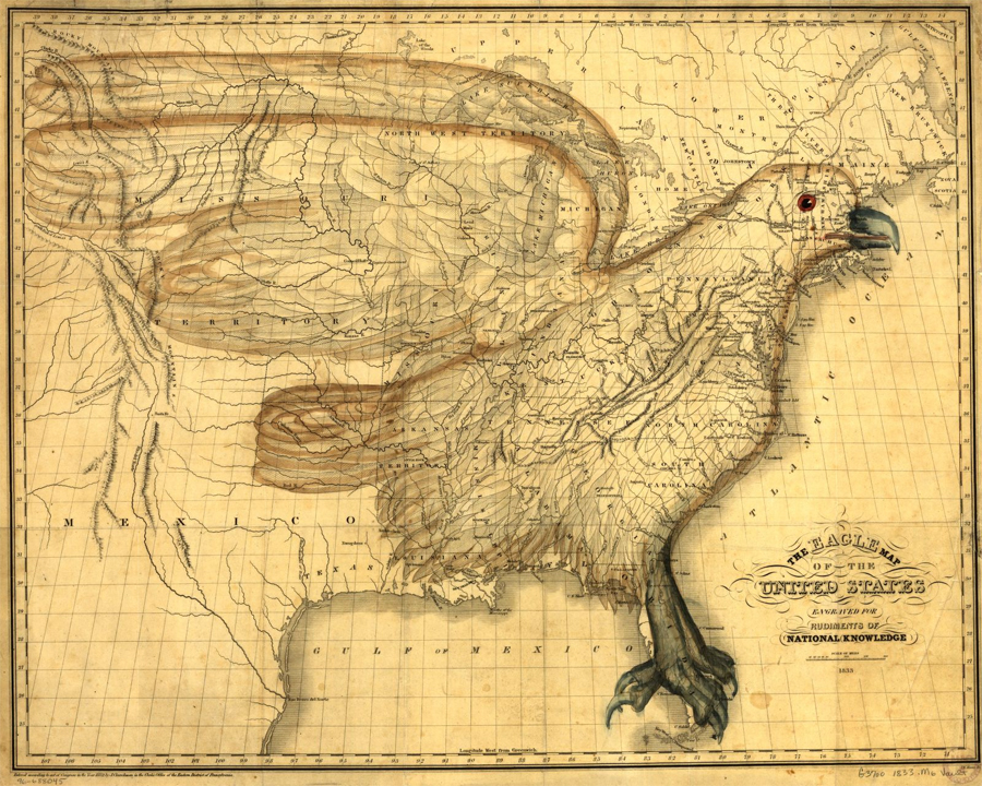 The eagle map of the United States