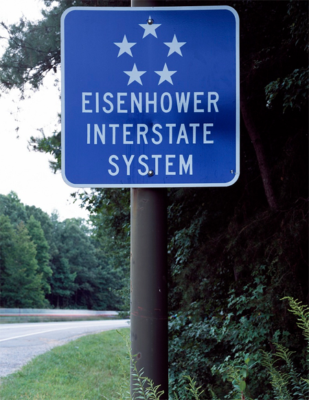 Sign for the Interstate Highway System, saluting President Dwight Eisenhower, who initiated the system in the 1950s