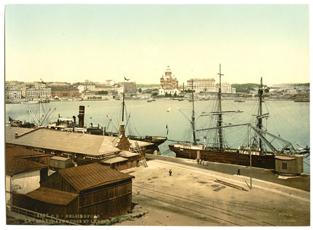 The Russian cathedral and the harbor, Helsingfors, Russia, i.e., Helsinki, Finland