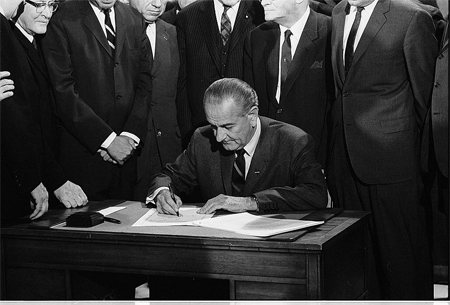 Pres. L.B. Johnson signs the 1968 Civil Rights Bill