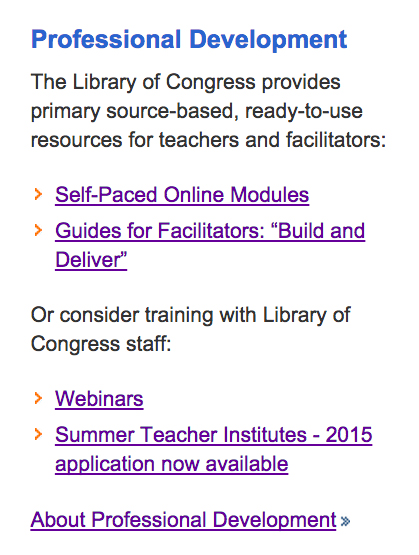 Library of Congress Spring 2015 Educator Webinars