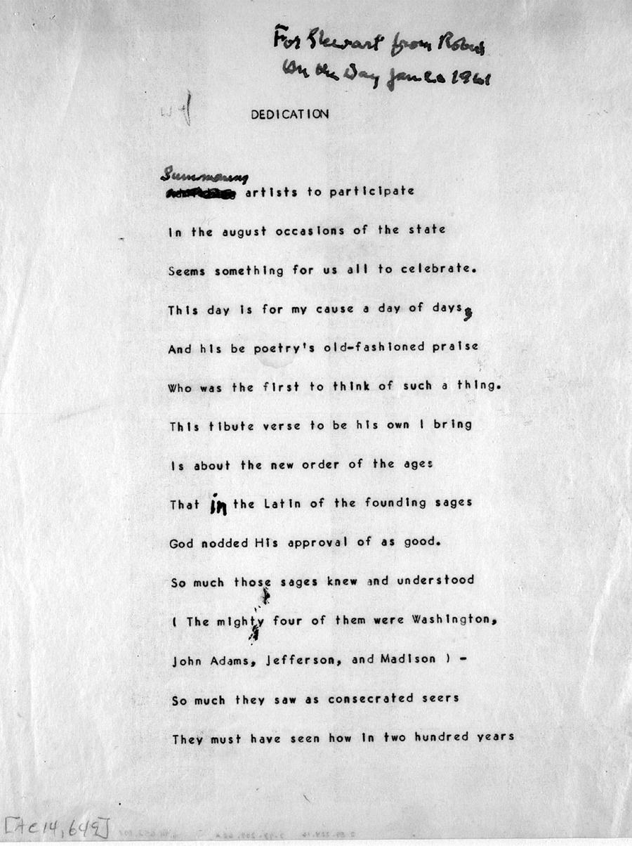 """Dedication,"" Robert Frost's presidential inaugural poem"