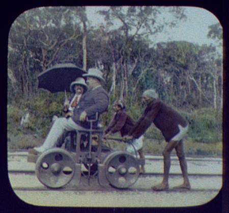 Pangborn on railway section car