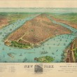 New York: a birdseye view from the harbor, showing Manhattan Island in its surroundings