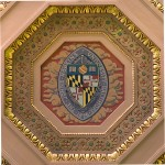 Ceiling detail, the Johns Hopkins University seal, at the William H. Welch Medical Library, the library of the Johns Hopkins Hospital