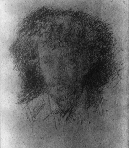 Photograph of a chalk drawing self-portrait by James McNeill Whistler