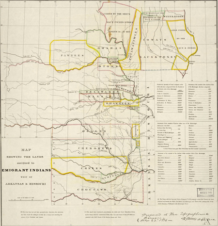 Map showing the lands assigned to emigrant Indians west of Arkansas and Missouri