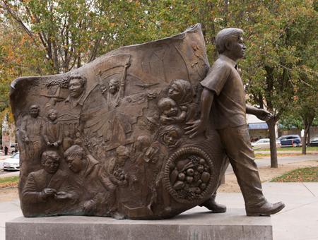 Sculpture located in César Chávez Plaza in downtown Sacramento