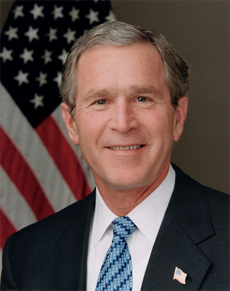 President Bush poses for his official portrait in the Roosevelt Room