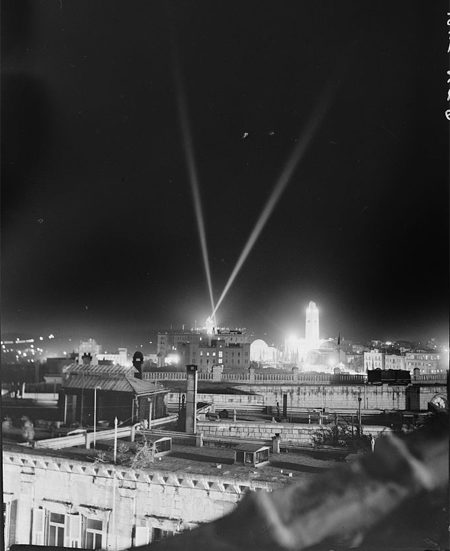 V.E. Day, May 8, 1945, night illumination over K.D. [i.e., King David Hotel] & Y.M.C.A.