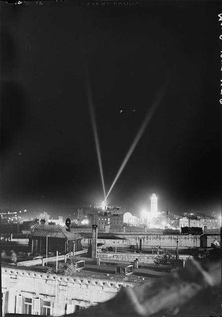 V.E. Day, May 8, 1945, night illumination over K.D. [i.e., King David Hotel] & Y.M.C.A.