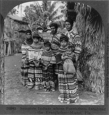 Seminole Indians whose Forefathers inhabited the Everglades--Miami, Fla.