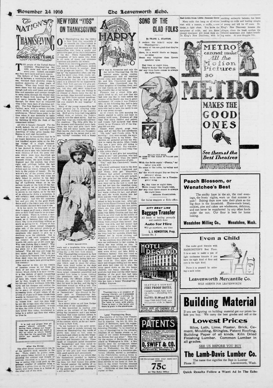 Thanksgiving page November 24, 1916
