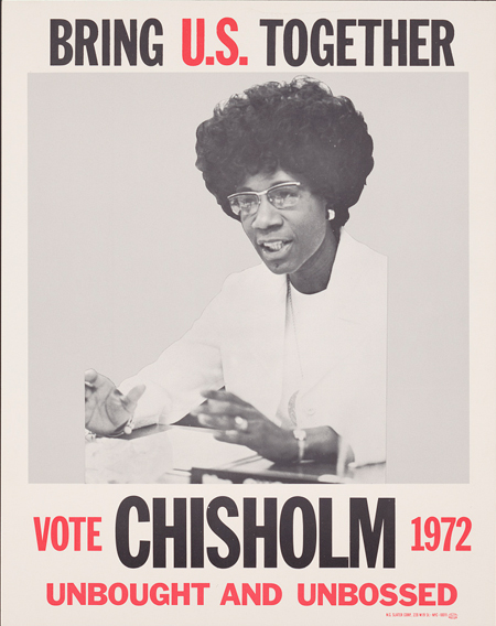Bring U.S. together. Vote Chisolm 1972, unbought and unbossed.