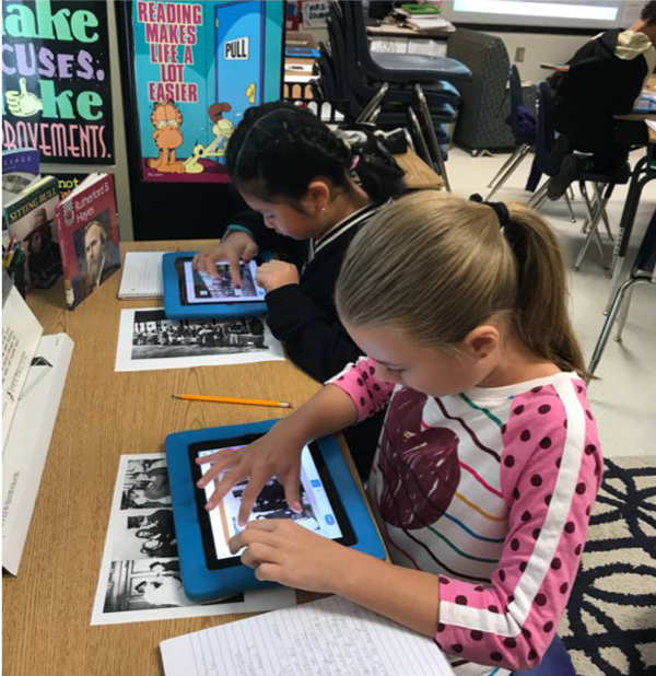 Had a great day learning SeeSaw with Ms. Wade! Students used primary sources to create posts!