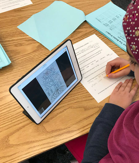 The fifth graders are connecting the setting of their historical fiction book with primary sources