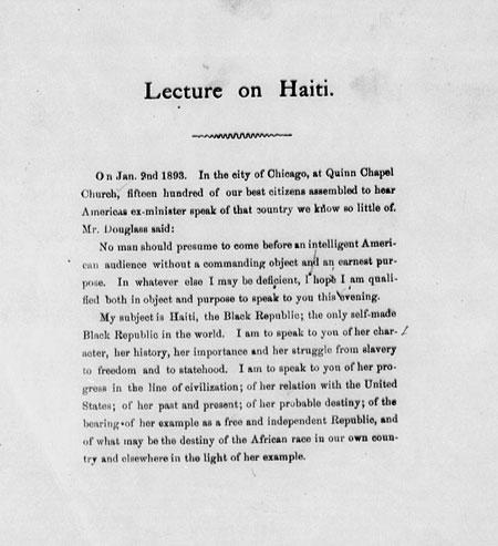 Lecture on Haiti