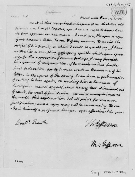 Thomas Jefferson to Benjamin Rush