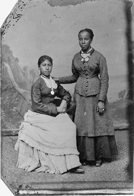 Portrait of two young African American women