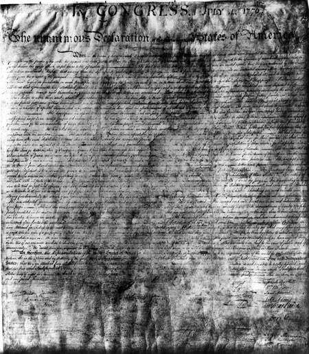 Photograph of the Declaration of Independence