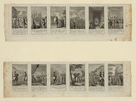 Scenes from events and battles leading up to and during the American Revolution