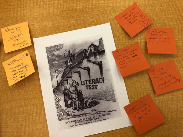 Teachers on fire today, making connections (self, text, world), writing noticings and wonderings about primary sources