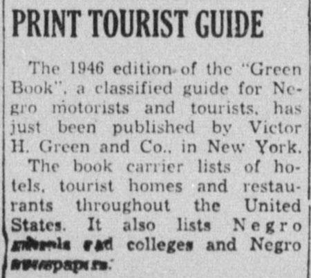 Green Book newspaper ad